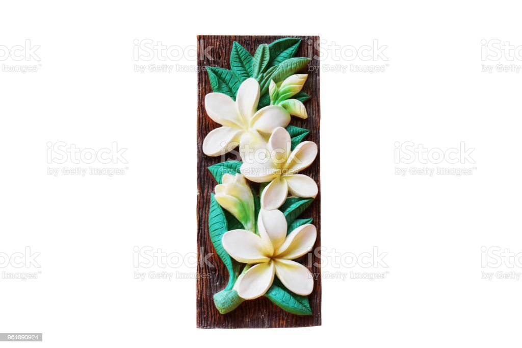 Frangipani or Plumeria albaMold from concrete for building with clipping path royalty-free stock photo