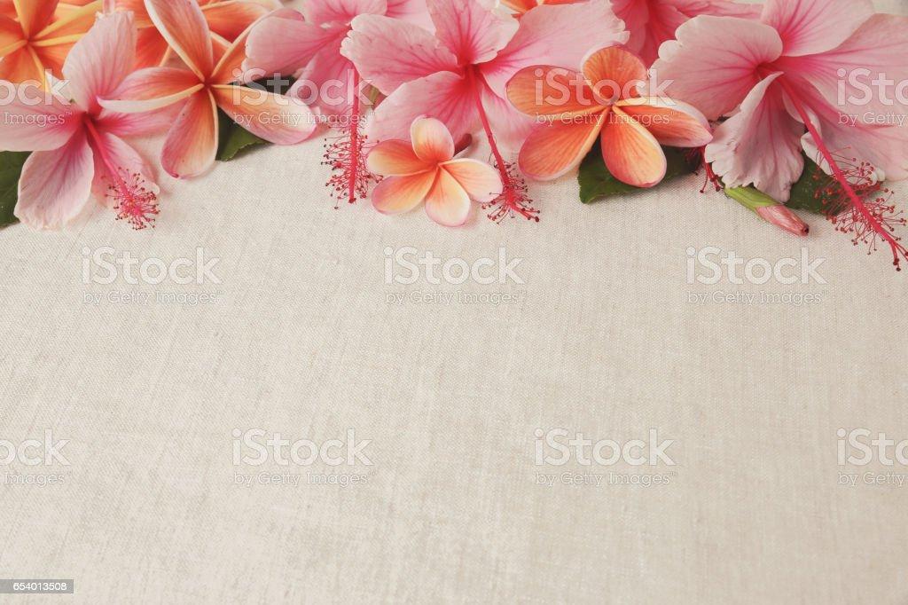 Frangipani, Plumeria, Hibiscus flowers on linen, copy space background, selective focus, vintage tone stock photo