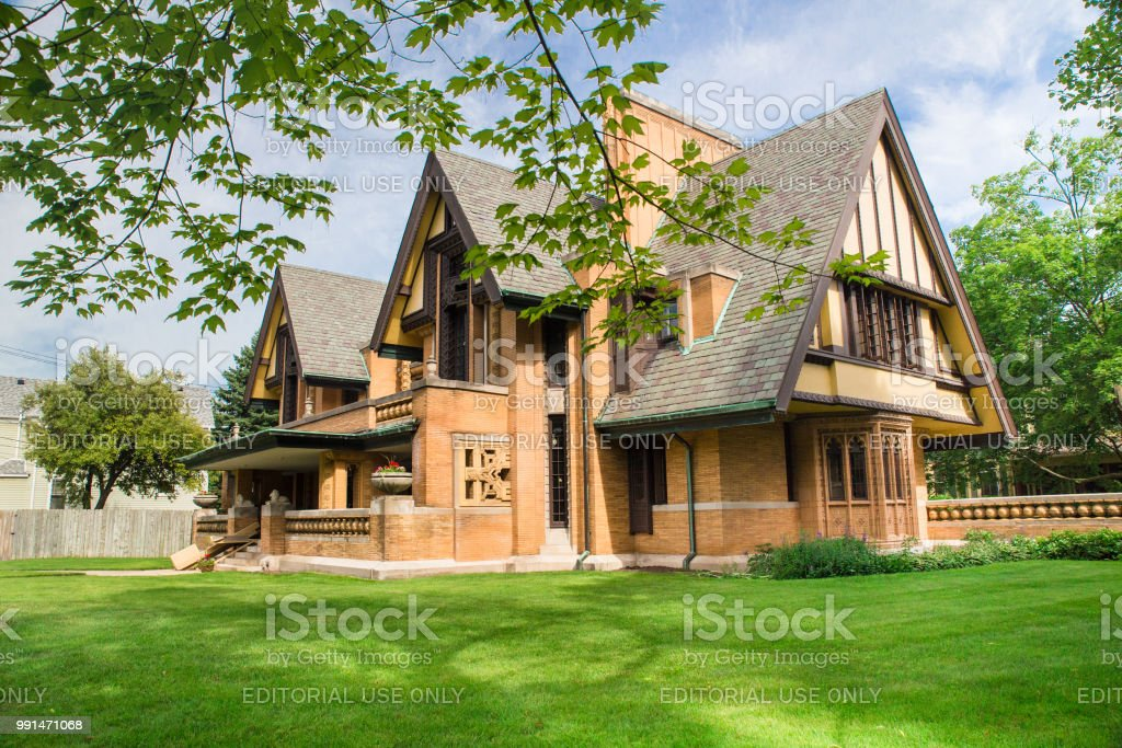 Frank Lloyd Wright designed home Oak Park, Illinois, USA - June 25, 2018:  View of the The Nathan G. Moore House also known as the Moore-Dugal Residence designed by Frank Lloyd Wright. Architect Stock Photo