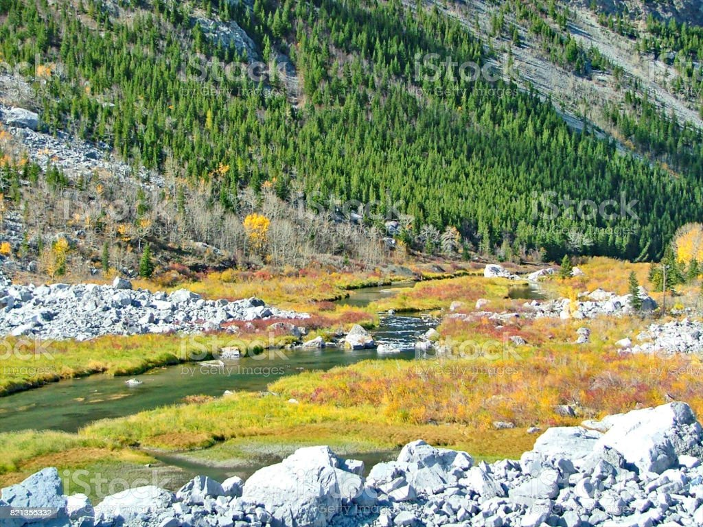 Frank Slide, Alberta, with Crowsnest River flowing through stock photo