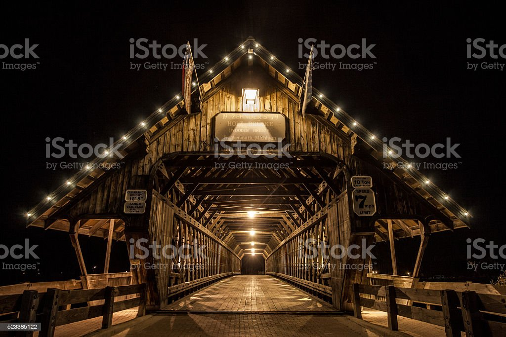 Frankenmuth Michigan Illuminated Covered Bridge stock photo