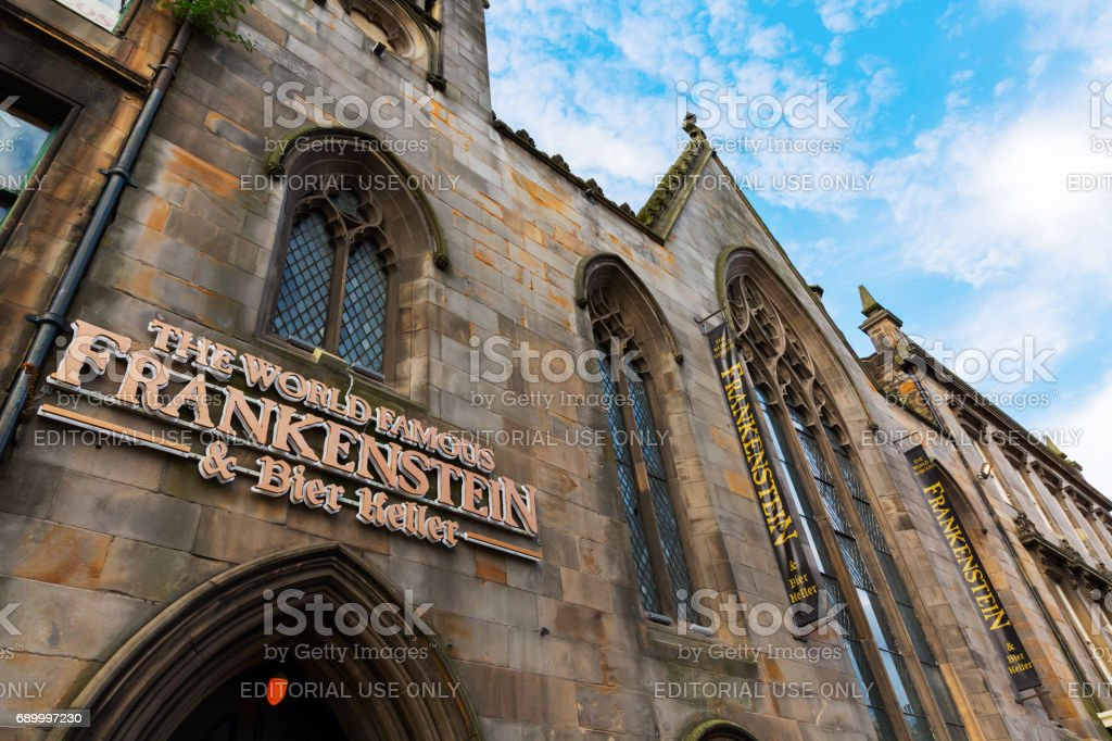 Frankenstein pub in the old town of Edinburgh, UK stock photo