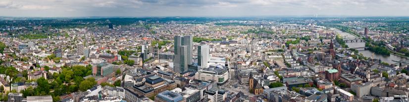 Luftbild Panorama Der Stadt Frankfurt Borse Zeil Romerburg Main
