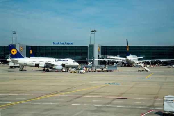 frankfurt airport tarmac runway met vloot van lufthansa vliegtuigen wordt gehandhaafd - luchthaven frankfurt am main stockfoto's en -beelden