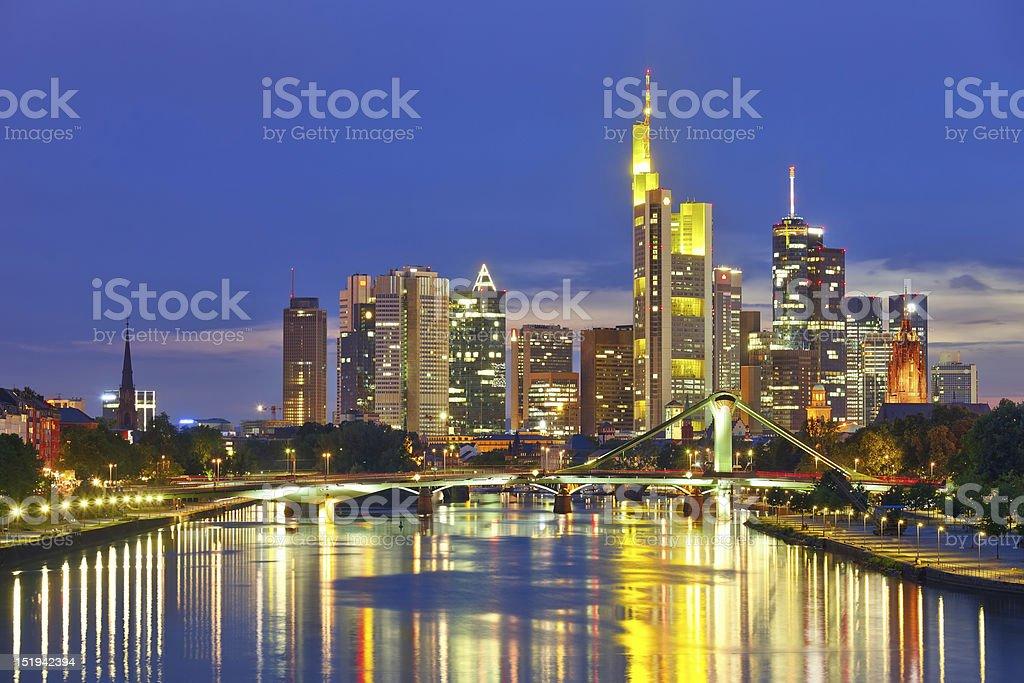 Frankfurt am Main at night royalty-free stock photo
