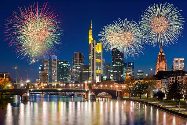 frankfurt am main at night with firework new year - silvester deutschland stock-fotos und bilder