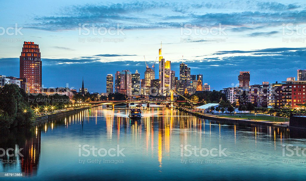 Frankfurt am Main skyline at dusk, Hessen, Germany stock photo