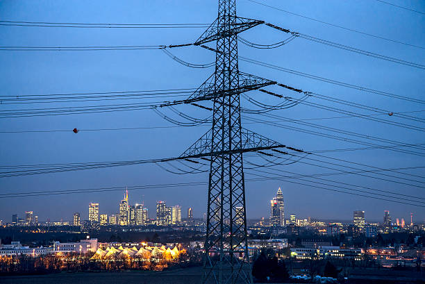 Frankfurt and infrastructure for power supply stock photo