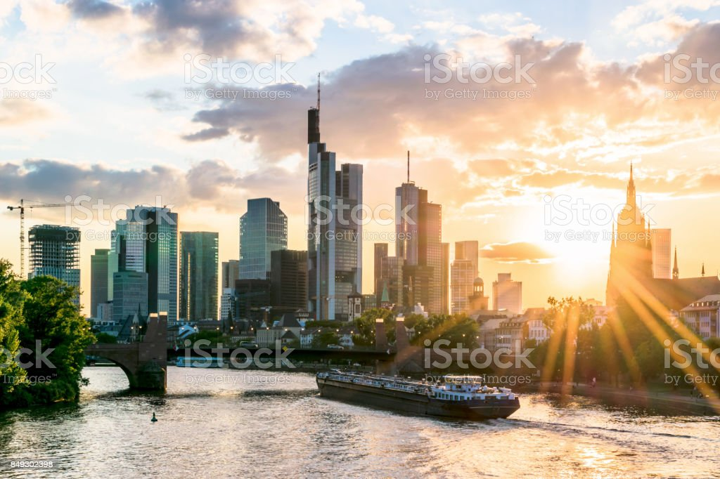 Frankfurt at Main skyline in the evening at sunset. Financial center of Germany. stock photo