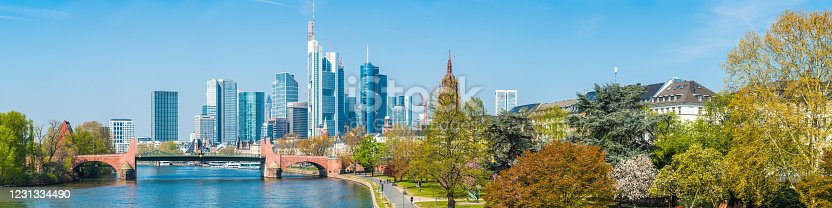 The crowded skyscraper cityscape of Frankfurt's Bankenviertel financial district framed by the leafy spring foliage along the River Main, Hesse, Germany.