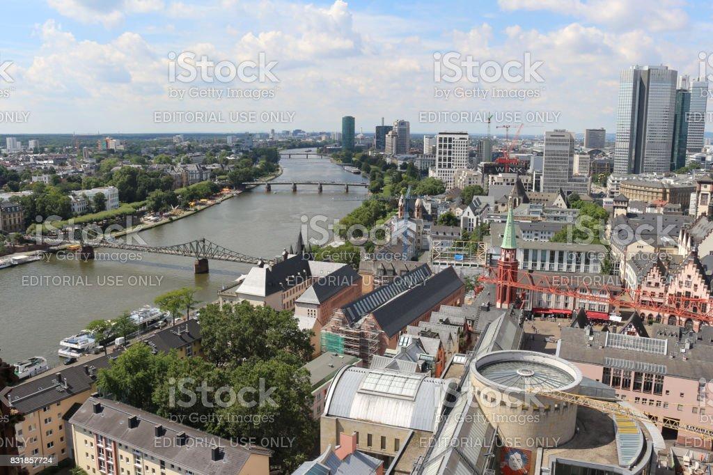 Frankfurt city skyline stock photo