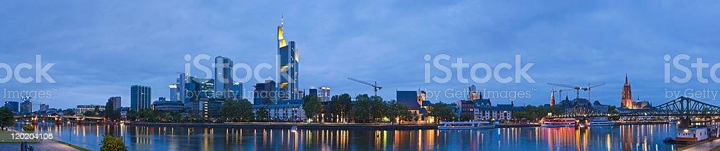 Frankfurt downtown skyscrapers landmark cityscape panorama illuminated River Main Germany stock photo