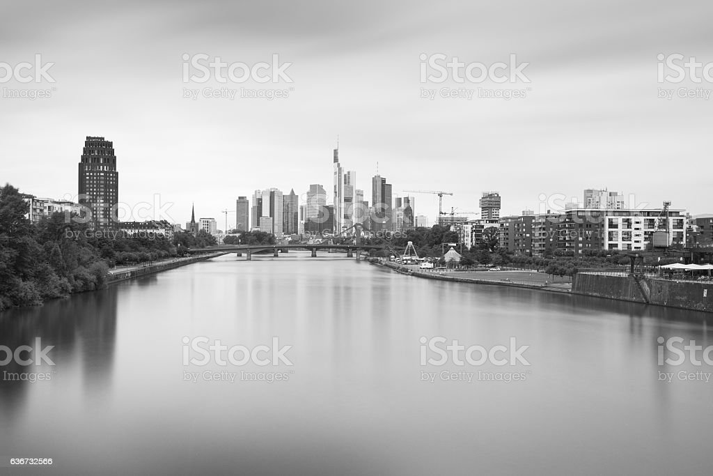 Frankfurt Eastend bulb exposure b/w stock photo