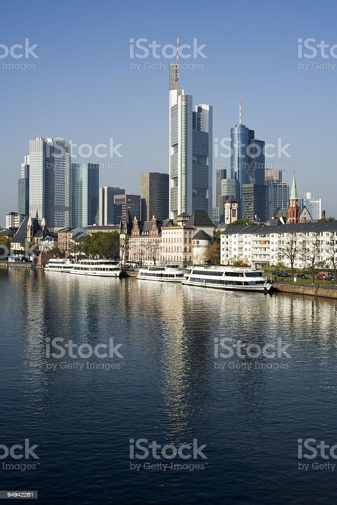 Frankfurt financial district reflected in Main river stock photo