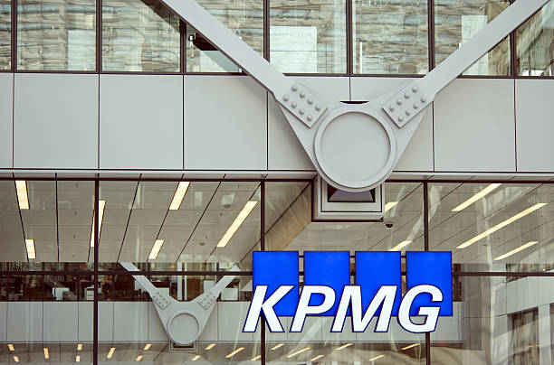 KPMG  Frankfurt, Germany Frankfurt am Main, Germany- March 8, 2012: KPMG Logo at the facade of their office building at the Frankfurt Airport. The company is  heatquartered in Amsteram, The Netherlands. They are one of the largest professional services and accountancy firms in the world. k logo stock pictures, royalty-free photos & images