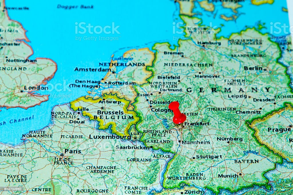frankfurt germany pinned on a map of europe royalty free stock photo