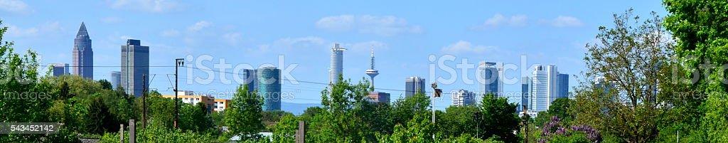 Frankfurt, Green City: Skyline and Trees stock photo