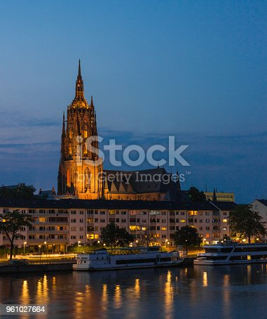 Frankfurt Imperial Cathedral of Saint Bartholomew on Main River at Sunset