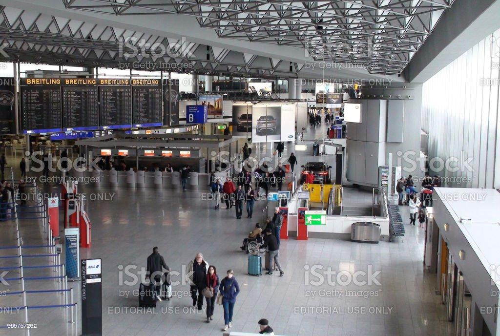 Frankfurt International Airport Terminal And People View. Germany Europe - Royalty-free Aerospace Industry Stock Photo