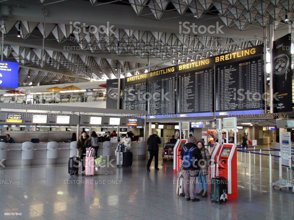 Frankfurt International Airport Terminal Plus People View In Germany. Europe - Royalty-free Aerospace Industry Stock Photo