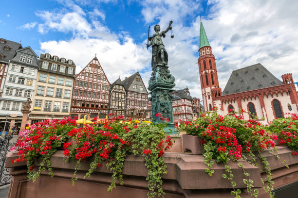 Frankfurt old town Frankfurt old town with the Justitia statue. Germany germany stock pictures, royalty-free photos & images