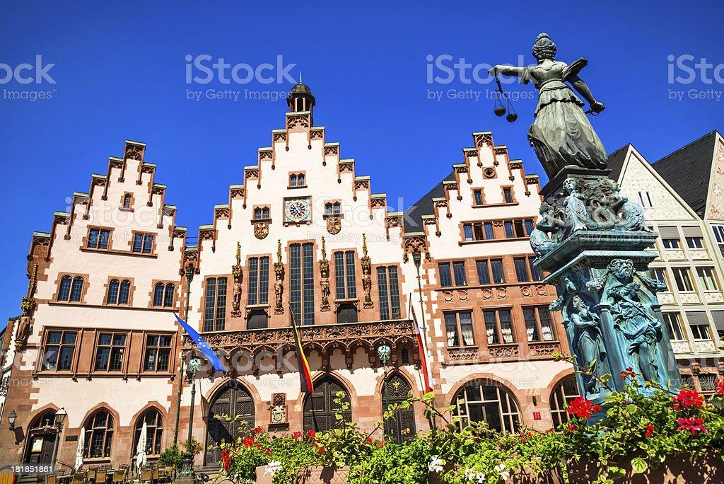 Frankfurt Römer and Statue of Justice stock photo