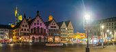 istock Frankfurt Romerberg Altstadt lamplight overlooked by skyscrapers night panorama Germany 1201461130
