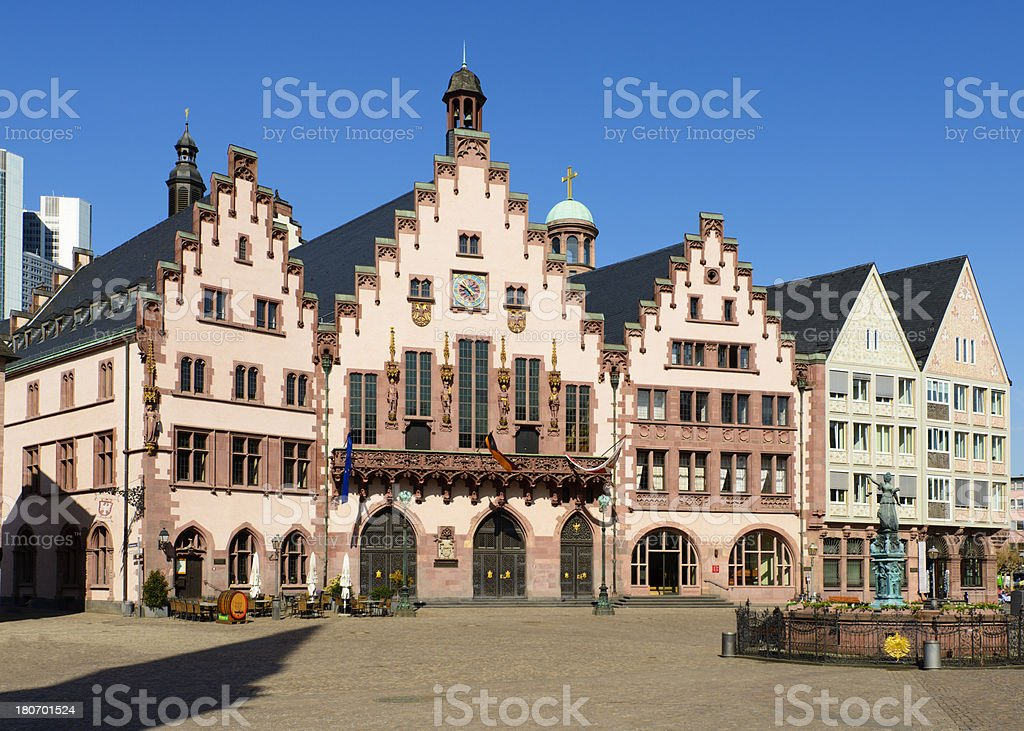 Frankfurt Romerberg and Town Square in Germany stock photo