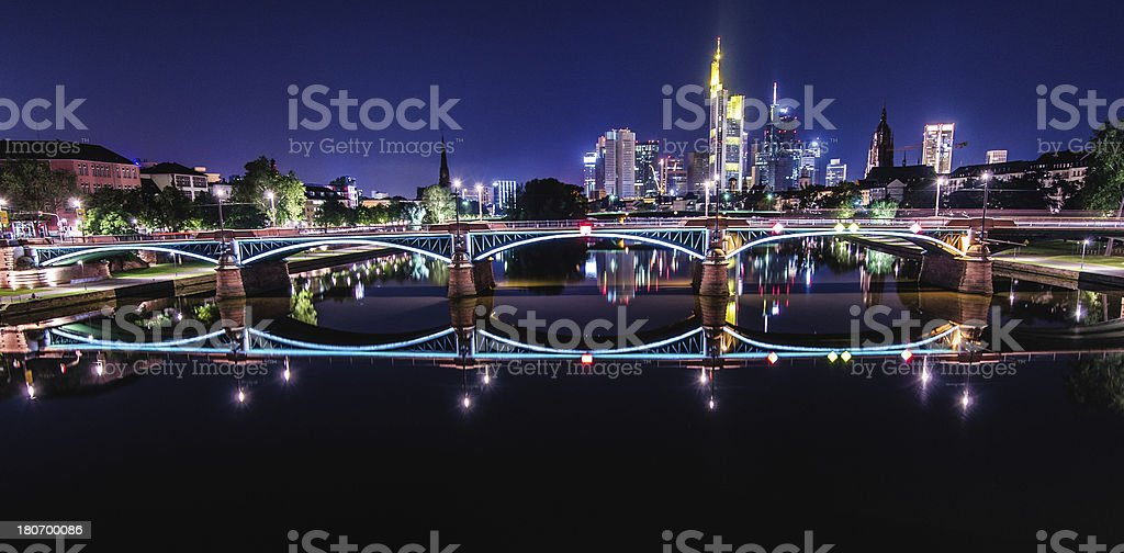 Frankfurt Skyline at night royalty-free stock photo