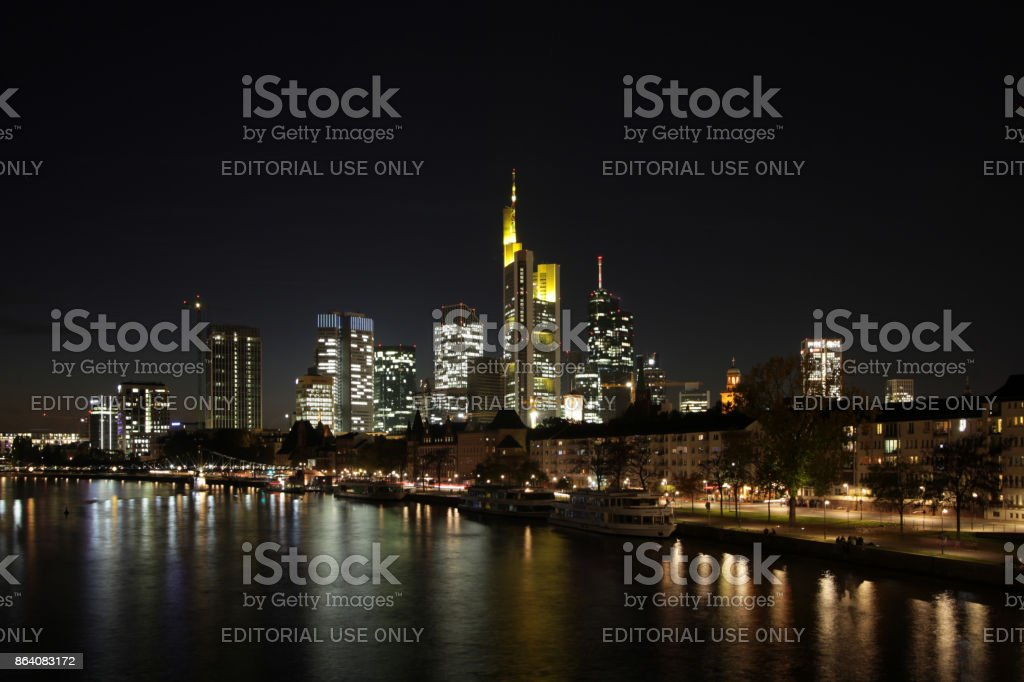 Frankfurt skyline at night royalty-free stock photo