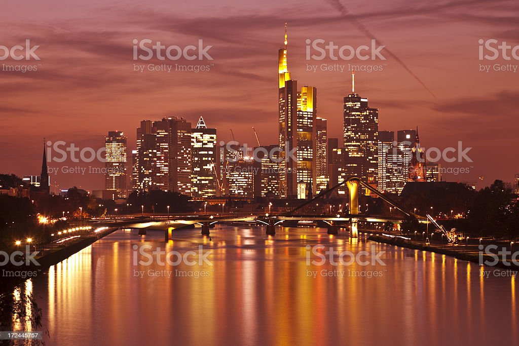 Frankfurt Skyline at Twilight, View Over Main River, Germany royalty-free stock photo