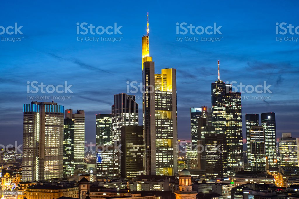 Frankfurt skyline in the evening stock photo
