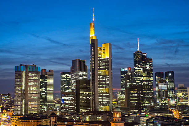 Frankfurt skyline in the evening stock photo