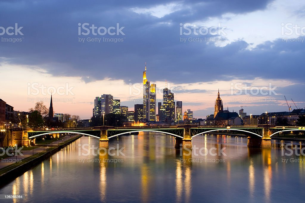 Frankfurt Skyline with a Dramatic Cloudscape royalty-free stock photo