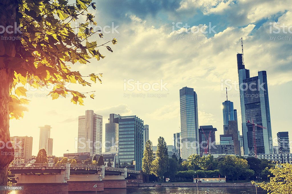 Frankfurt skyline with evening sun stock photo
