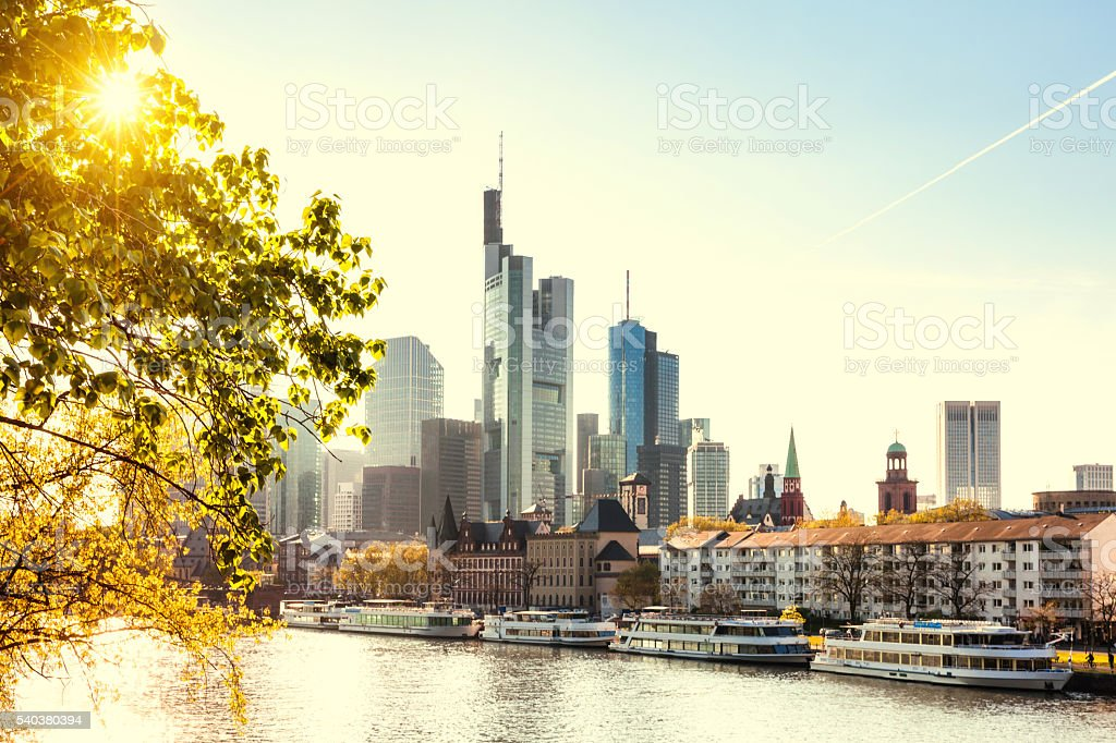 Frankfurt skyline with evening sun stock photo