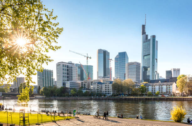 Frankfurt skyline with sun Frankfurt skyline with sun Frankfurt Main, Germany riverbank stock pictures, royalty-free photos & images