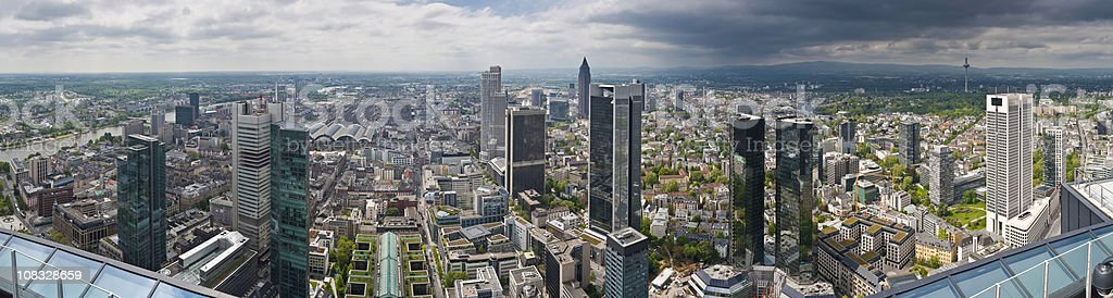 Frankfurt skyscrapers downtown city finance towers banks Messe panorama Germany stock photo