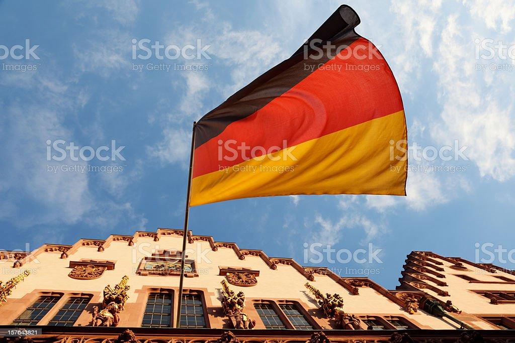 Frankfurt Townhall and german flag, deutsche Flagge und Rathaus royalty-free stock photo