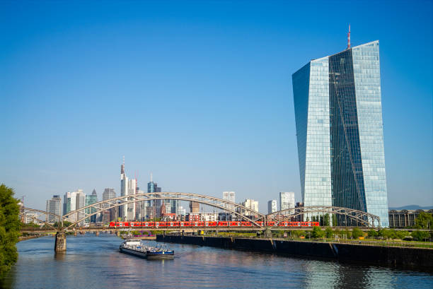 Frankfurt with ECB and skyline stock photo