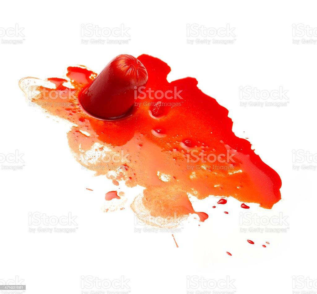 Frankfurter 'Bleeding' royalty-free stock photo