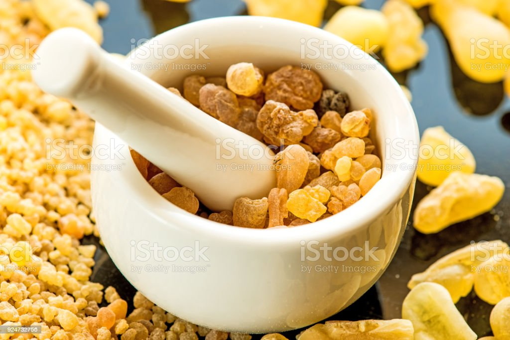 Frankincense, incense with mortar stock photo