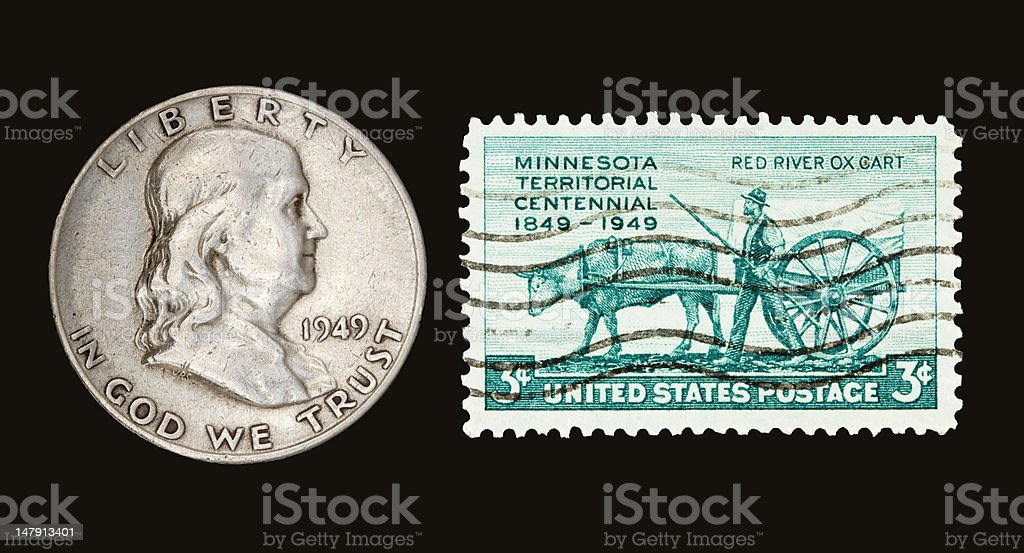 Franklin  and Stamp 1949 stock photo