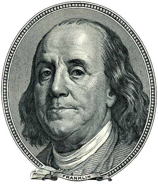 Franklin Benjamin portrait cutout Portrait of U.S. statesman, inventor, and diplomat Benjamin Franklin as he looks on one hundred dollar bill obverse. Clipping path included. benjamin franklin stock pictures, royalty-free photos & images