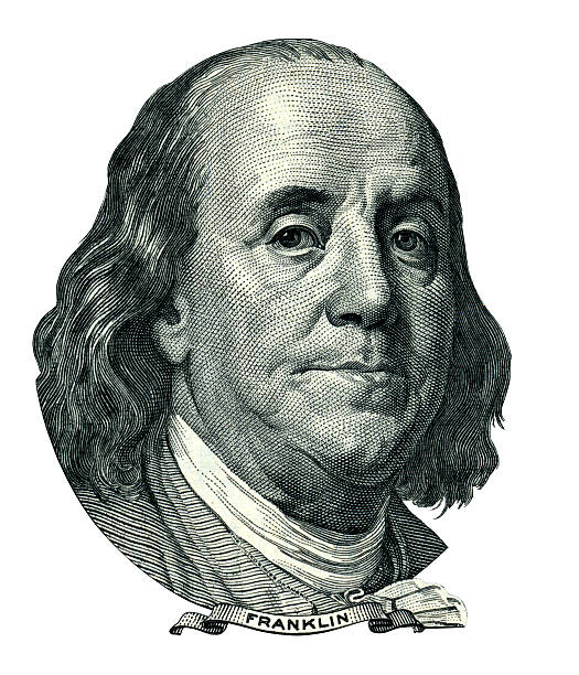 Franklin Benjamin portrait cutout (Clipping path) Portrait of U.S. statesman, inventor, and diplomat Benjamin Franklin as he looks on one hundred dollar bill obverse. Clipping path included. benjamin franklin stock pictures, royalty-free photos & images