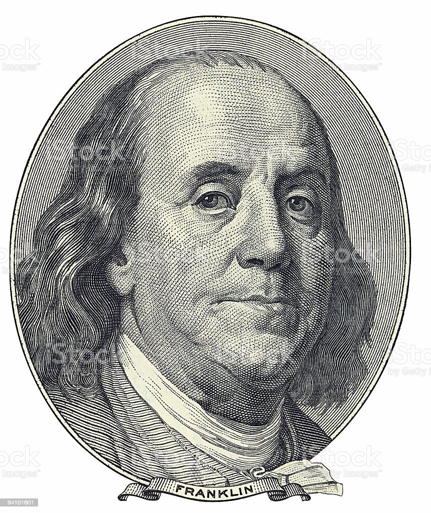 Franklin Benjamin portrait cutout royalty-free stock photo