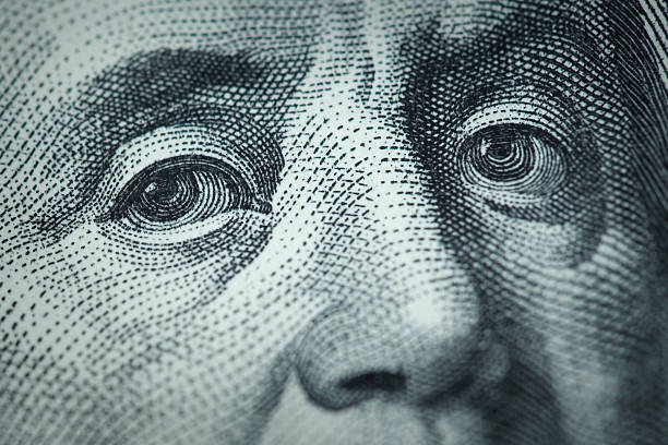 Franklin in Hundred dollar bill stock photo