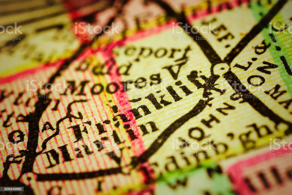 Franklin, Indiana on an Antique map stock photo