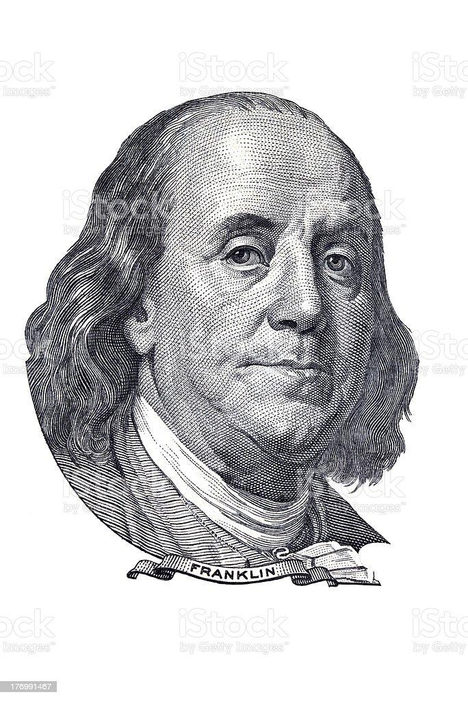 Franklin portrait of $100 banknote. stock photo