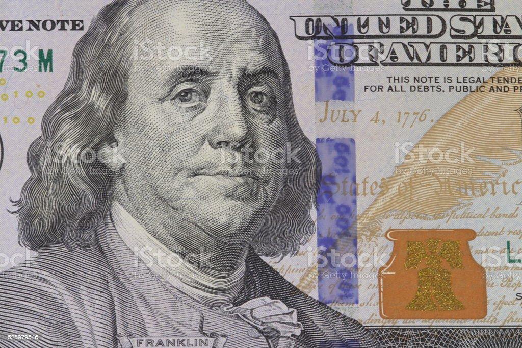 Franklin portrait on banknote stock photo